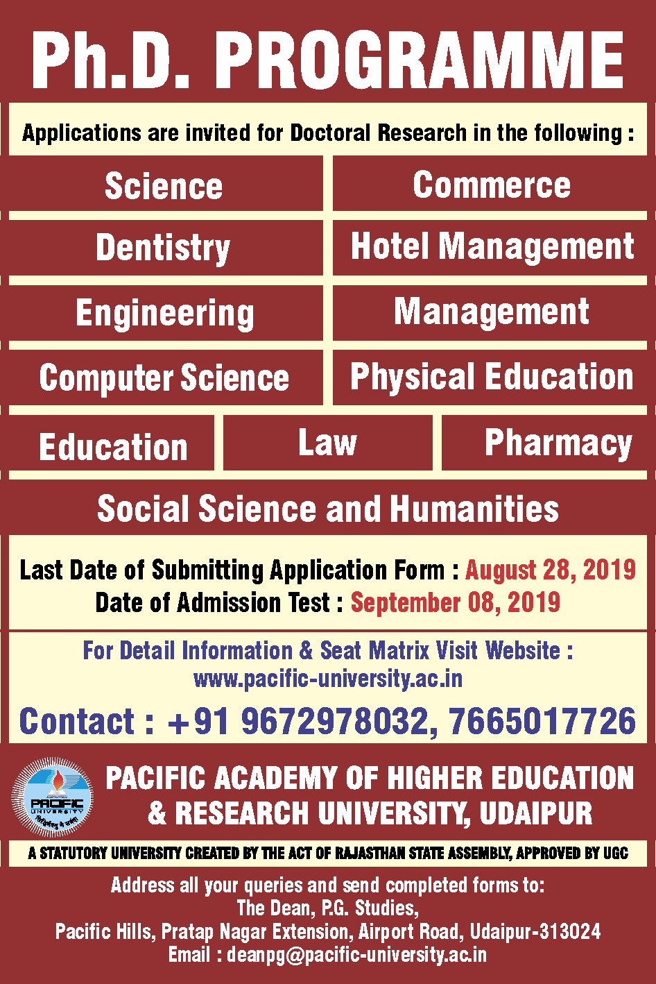 Pacific University, Udaipur: Top College/University in